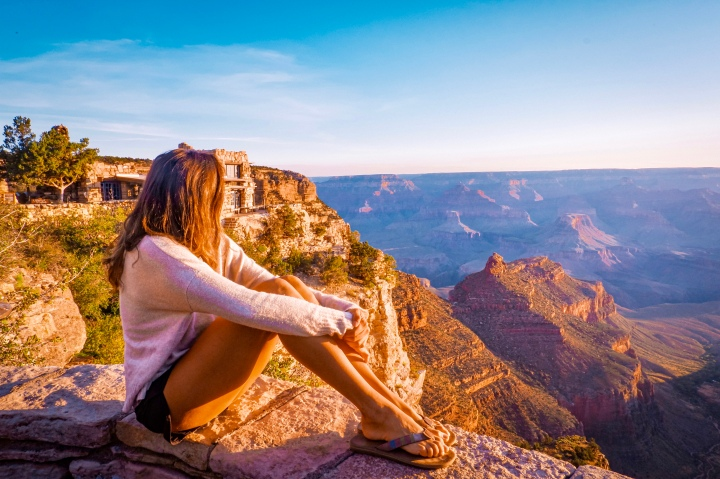 Gazing into the South Rim Canyon at sunrise